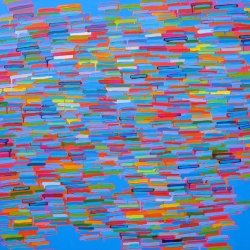 """Chicago Artist, Martina Nehrling's new 21 foot long painting """"Through a Purple Patch"""""""