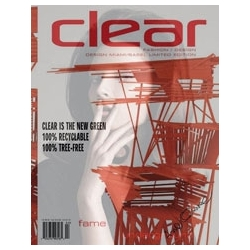 "Clear Magazine announced the publication of its first tree-less, 100 % recyclable magazine. Printed on YUPOÒ synthetic papers, Clear's latest issue, themed ""fame underground,"" premiered at December's Design Miami/Basel festival."