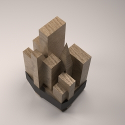Wooden Skyline, basic wooden shapes held together with a rubber band create an image of a city landscape. Designed by Itay Laniado.