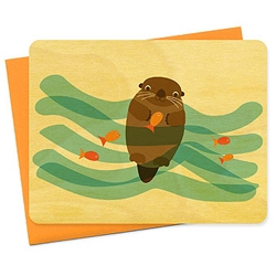 Meet Mr. Water Otter  the newest eco-friendly, sustainably harvested wooden card from Night Owl Paper Goods.