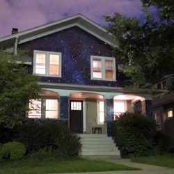 Chicago-based artist Kate McQuillen wrapped a house in the night sky.