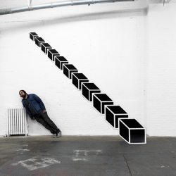 New exhibition of site-specific installations by Aakash Nihalani at Signal Gallery playing with forced perspective and viewer interaction.