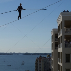 Incredible video of high wire walker Nik Wallenda performing the same walk that killed his grandfather 30 years ago in Puerto Rico. Video camera attached to his balance pole, gives the viewer a very unique look at this amazing feat.