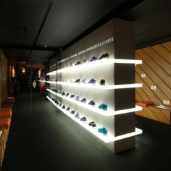 Nike+ Fuelstation – The future of retail design. The internal creatives at Nike in The Netherlands dreamed up the concept store which is attempting to offer an innovative balance of interactive digital elements along with human interaction.