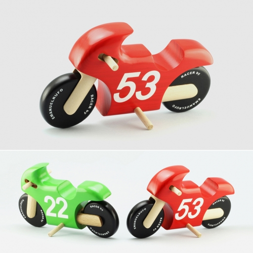 Racer is a Wooden Toy Motorcycle created by the Portuguese Product Designer and Craftsman, Emanuel Rufo, to respond to the need of developing a product for two-wheel motor vehicle enthusiasts.