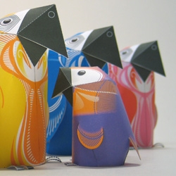 Parrots, new papertoy-family by 3Eyedbear.