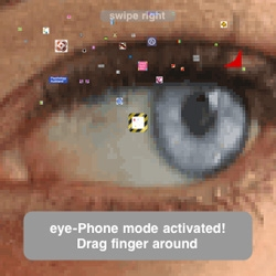 This website uses the iPhone's swipe gestures to enter the Konami code, unlocking an interactive Easter Egg: eye-Phone. (There's a video of it in the blog)