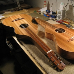 A pair of Weissenborn style guitars meant to be played on a lap with a steel bar. One has local Sycamore back and side wood and the other Mahogany. Both have Western Red Cedar tops.