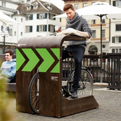 A 'drive-in' for bicycles! Zurich's new Velokafi - pull your bike up and grub down.