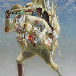 'The Histrionic Wayfarer (After Bosch)' by Tim Storrier wins the Archibold prize for his faceless self-portrait, inspired by Hieronymus Bosch.