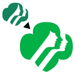 Girl Scouts' re-branding by design agency OCD. Bangs and a nose job...