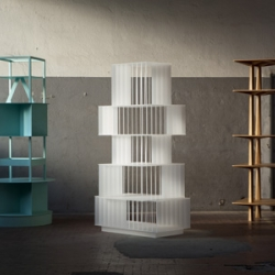 Totem for living by Oeuffice. Monolithic objects that dominate the habitat, yet remain entirely functional.