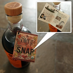 Beautifully illustrated Story of (ginger)SNAP ~ as found around the neck of the bottle of Art in the Age of Mechanical Reproduction's SNAP spirit.