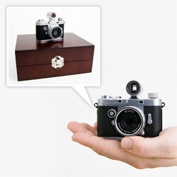 Minox Classic Mini Digital (Spy) Camera ~ in gorgeous wood box... and the accessories are adorable! Wide angle lens, flash, optical viewfinder and more...