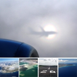 Operation Window Seat ~ HNL-CXI-HNL ~ amazing views of Christmas Island and Honolulu... as well as a shadow of the plane surrounded by a rainbow cast on a cloud!