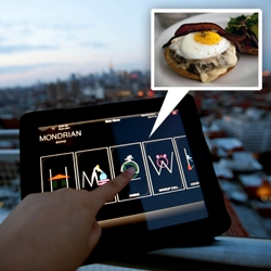 Mondrian SoHo ~ penthouse level views, iPad precariously perched 25 floors up... and a few taps of the iPad and burger and salad delicious appear. A peek in to the suite as well...
