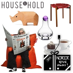 NOTCOT Holiday Giveaway #4: House & Hold is giving away  Original Fatboy, Design House Stockholm Tablo , Karl Zahn Rhino box, a Nuance Snack Set, and a Design House Stockholm Barbara Carafe!