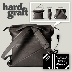 NOTCOT Holiday Giveaway #5: Hard Graft is giving away one of their Back2Back Leather Bags ~ it's a 3 in 1: messenger bag - briefcase - backpack!