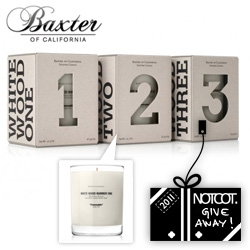 NOTCOT Holiday Giveaway #6: Baxter of California is giving away a trio of their new White Wood candles ~ beautiful packaging details!