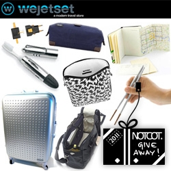 NOTCOT Holiday Giveaway #11: Wejetset! They are giving away a jetsetter bundle of a Hideo suitcase, Qwstion Weekender bag, Jack Spade wax wear kit, an Incase iPad Case, Travel Chopsticks, an OhSo Toothbrush, and Universal Adapter
