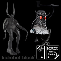 NOTCOT Holiday Giveaway #12: Kidrobot Black gives away two of their sold out limited editions - The Goddess by Doze Green (1/200) and The Deek by Jeff Soto (1/150)