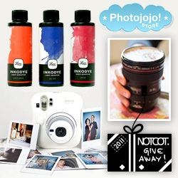 NOTCOT Holiday Giveaway #14 Photojojo! So much photography fun to win!  The bundle includes a Fujifilm Instax 7s Camera & Film, Black Canon Camera Lens Mug and Photo Fabric Dye Kit