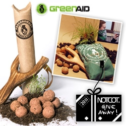 NOTCOT Holiday Giveaway #19: Greenaid is giving away 10 limited edition holiday gift kits which come with 12 seedbombs and a wooden slingshot, all wrapped in a custom bandana for guerrilla gardening excursions!