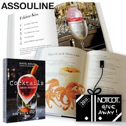 NOTCOT Holiday Giveaway #21: Assouline is giving away Daniel Boulud's Cocktails & Amuse-Bouches, For Her & For Him. It has you covered with a range of unusual cocktails and deliciousness to pair them with!