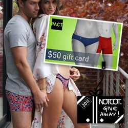 NOTCOT Holiday Giveaway #25: PACT is giving away 10 $50 Gift Cards perfect for spending on designer undies for a cause, tees, tanks, and even socks made from wind!
