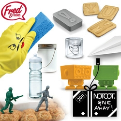 NOTCOT Holiday Giveaway #27: Fred bundle of Yum Bots, Letterpress Cookie Cutters, Dream Light, Food Fighters Toy Soldiers, a Doomed Crystal Skull Shot Glass, a Gym Glass Sports Bottle, Paper Airplane Door Stop, and Dishplay Gloves!
