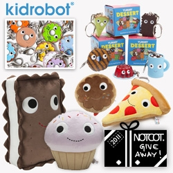"NOTCOT Holiday Giveaway #29: Kidrobot a 24"" Yummy Pizza Plush, a 9"" Pink Edition Cupcake Plush, a 13"" Ice Cream Sandwich Plush, a 12"" Brown Edition Donut Plush, Dessert Keychains, and Donut Pulls."