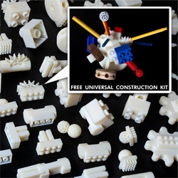 The Free Universal Construction Kit is finally here ~ 3D print pieces to make your toys play nicely together (specifically Lego, Lincoln Logs, Duplo, Fischertechnik, K'nex, Krinkles, Tinkerytoy, Zome, Zoob, and Gears Gears Gears!)