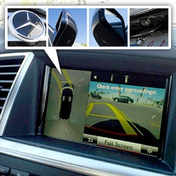 360 Camera Surround View System in the new Mercedes-Benz 2013 GL is awesome. So many views, so many cameras around your car, and you can see the projection of where you'll end up as you turn the wheel!  See the vids...