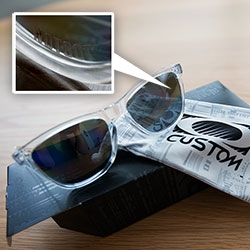 Oakley Custom Frogskins ~ a look at our NOTCOT ones and the customizer. Love how subtle the etching is on their customs.