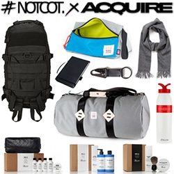 #NOTCOTxACQUIRE Adventure Giveaway! A huge bundle of goodies to  be won from our friends at Apolis, Baxter of California, Topo Designs, and Triple Aught Design!!!