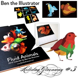 NOTCOT Holiday Giveaway #3: Ben The Illustrator. A chance to win an illustrated bundle including the Fluid Animal 2013 Calendar, three sets of fluid animal postcards and a set of 15 Robin's Christmas Cards.