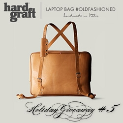 NOTCOT Holiday Giveaway #5: Hard Graft. A chance to win the stunning new Laptop Bag #OldFashioned - more versatile than you'd expect with its various ways to use the straps and carry it.
