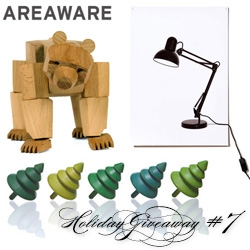 NOTCOT Holiday Giveaway #7: Areaware! Here's a chance to win a bundle including Flat Life Light, a Tree Top in green and Ursa Minor.