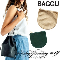NOTCOT Holiday Giveaway #9: BAGGU! A chance to win a bundle consisting of Drawstring Purse Natural, M Pouch Gold and the S Pouch Emerald Suede!