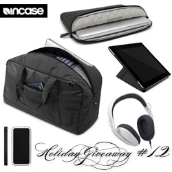 NOTCOT Holiday Giveaway #12: Incase! A chance to win a black and white travel bundle containing a Duffel, Sonic headphones, Heathered Protective Sleeve for MacBook, Origami Jacket for the iPad, and Pro Slider Case for the iPhone 5.