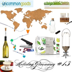 NOTCOT Holiday Giveaway #13: Uncommon Goods! Chance to win a Cork Map, Molecular Mixology Mojito Kit, Footed Bowl, Eau Good, Micro Green Kit, Bird Feeder, Pick Punch, Corkcicle, Extreme Stunt Wall Coaster, + Salts test tubes.