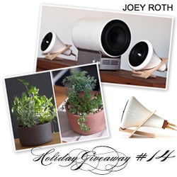 NOTCOT Holiday Giveaway #14: Joey Roth! This one will have 2 winners! One will win a set of two planters. The other will win his ceramic speakers and subwoofer!
