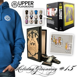 NOTCOT Holiday Giveaway #15: Upper Playground! Chance to win Jeremy Fish Skin & Bones Dominoes Set, Up 10 Years Book, Jeremy Fish Wisdome Patch Hoodie, Sam Flores Costumes wall stickers, and a t-shirt of your choice!