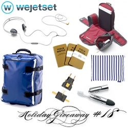 NOTCOT Holiday Giveaway #18: wejetset! A chance to win Hideo tarp luggage, Qwstion backpack, Aiaiai track headphones, Field Notes notebooks, Ohso travel toothbrush, universal travel plug, and Baggu packing aid.