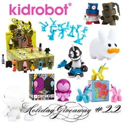NOTCOT Holiday Giveaway #22: Kidrobot! So many toys!  Kid Neutron, Pop Mini Series 'Corns, All City Breakers, Munnyworld Munny Series 4, a pair of Love Birds, Fat Caps, SPK2 Minis, and Happy Labbit Minis.