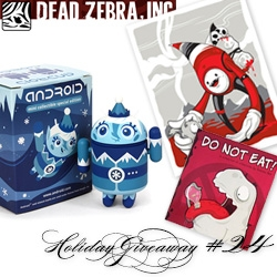 NOTCOT Holiday Giveaway #24: Dead Zebra! 10 winners will receive a Holiday Android - Frankie Frost and one Super Winner will receive 2 Holiday Androids, a signed Do Not Eat book, and a 'You should come with me' print.
