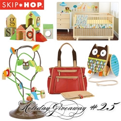 NOTCOT Holiday Giveaway #25: Skip Hop! A chance to win the ultimate new baby kit - bundle including a Grand Central Diaper Bag, 4-piece Nursery Set, Alphabet Zoo ABC Blocks, Tree Top Friends Bead Tree, and a Flapping Owl Pull Toy.