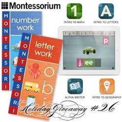 NOTCOT Holiday Giveaway #26: Montessorium! 20 chances to win - 10 will win Letter Work and Number Work Books and Montessorium apps: Intro to Math, Intro to Letters, Intro to Geography, Alpha Writer. Another 10, all 4 apps.