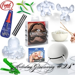 NOTCOT Holiday Giveaway #28: Fred & Friends! Chance to win Gator Clips, Sideview Mirror, Abominable Ice Tray, Coolamari Tray, Is the new black pencils, Sprout bookmarks, Crustache Crust Cutter, Drumstick Chopsticks, and MORE!