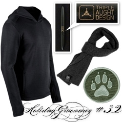 NOTCOT Holiday Giveaway #32: Triple Aught Design! An urban adventurer super bundle of a Flux Hoodie, Merino Scarf, K9 Velcro Patch, and a Fisher Space Pen 400 TAD Edition.